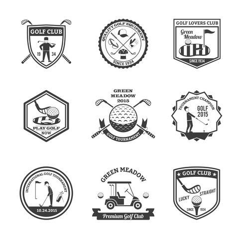 Ensemble d'emblèmes de golf noir blanc vecteur