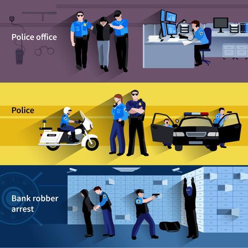 Bannières horizontales de policier vecteur