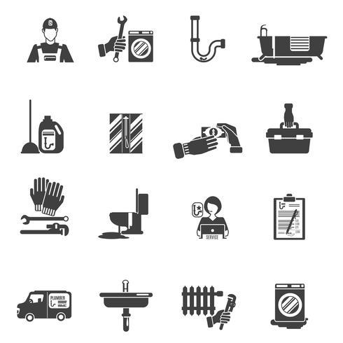 Collection d'icônes noires de service plombier vecteur