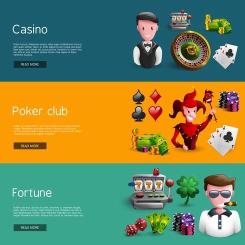 Ensemble de trois bannières de casino vecteur