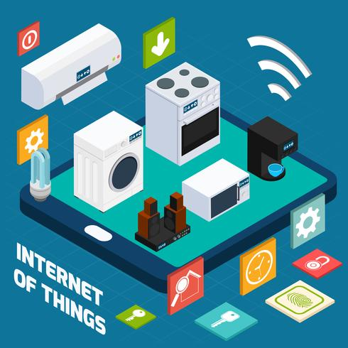 Icône de concept isométrique ménage concis Iot vecteur