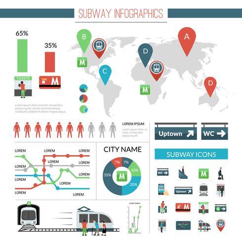 ensemble d'infographie de métro vecteur