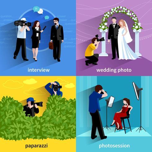 Photographe Icons Set vecteur