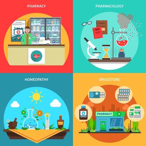 Pharmacie Concept Set vecteur