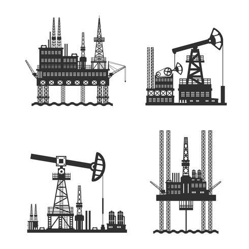 Plateforme pétrolière noire et blanche vecteur
