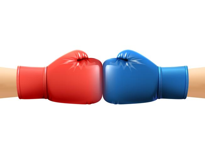 Mains dans les gants de boxe vecteur