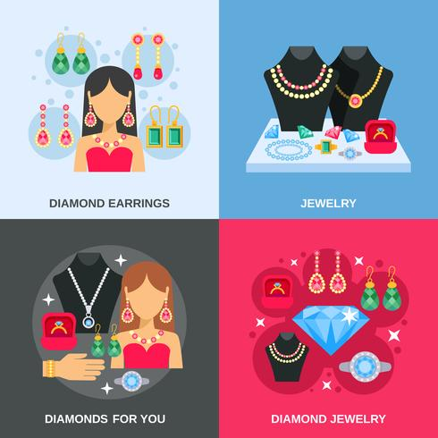 Bijoux Concept Icons Set vecteur