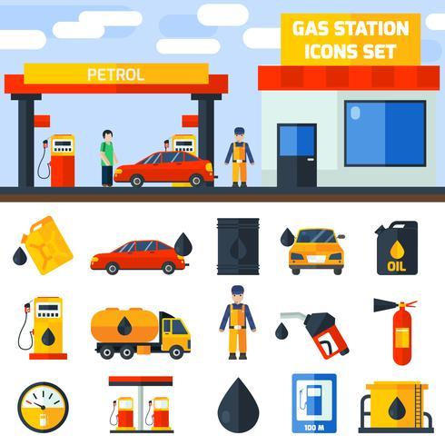 Bannière de collection d'icônes de station-service de gaz vecteur