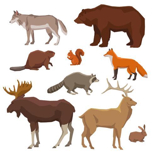 Jeu d'icônes peintes d'animaux sauvages vecteur