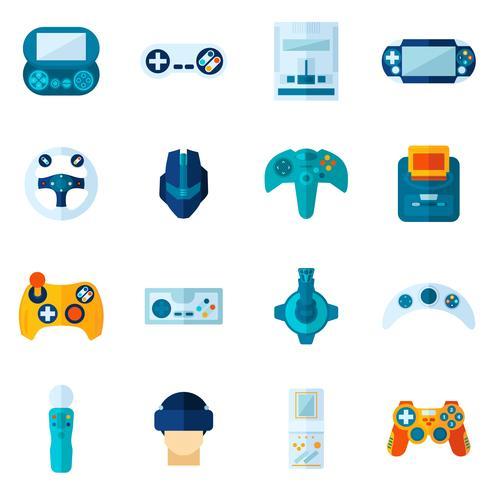 Jeu d'icônes plat de jeu vidéo vecteur