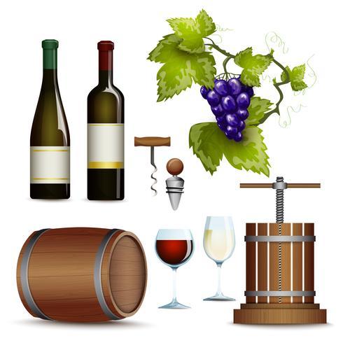Collection d'icônes de vin à plat vecteur