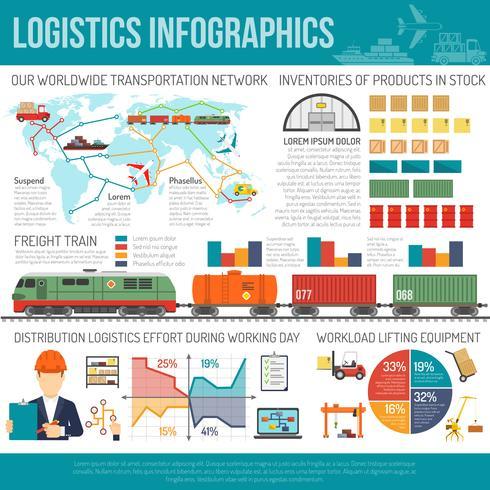 Tableau des infographies du réseau international d'entreprises de logistique vecteur