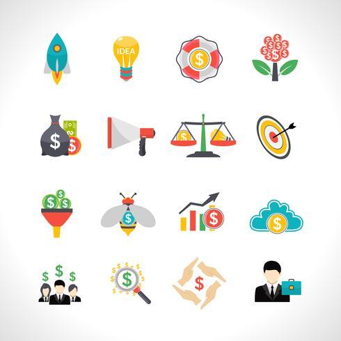 Startup crowdfunding set d'icônes plat vecteur