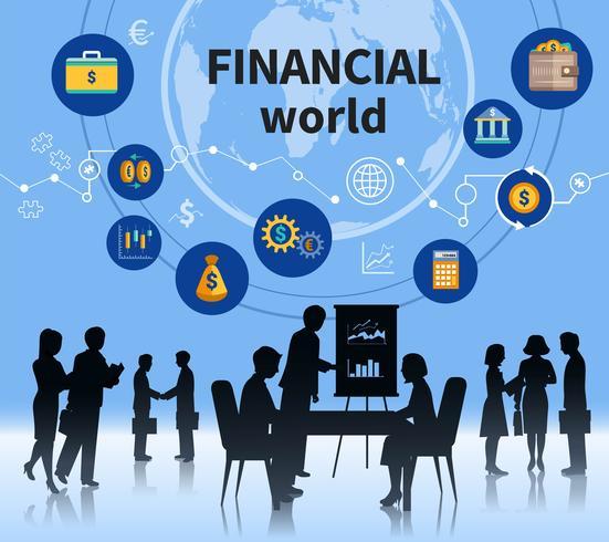 Bannière de composition concept affaires financières mondiales vecteur