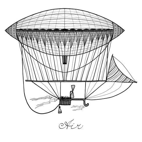 Illustration du dirigeable Doodle vecteur