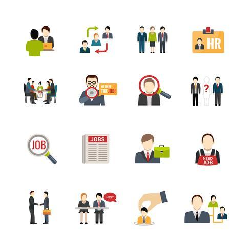 Set d'icônes de recrutement vecteur