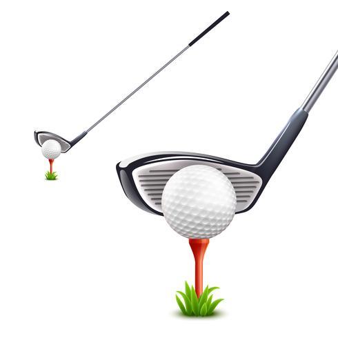 Ensemble réaliste de golf vecteur