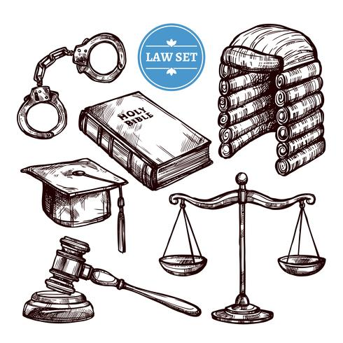 Ensemble de lois dessiné à la main vecteur