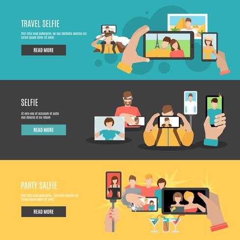 Ensemble de bannières horizontales interactives plat Selfie vecteur