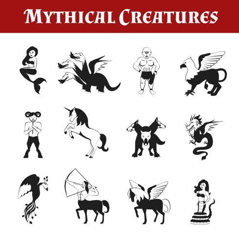 Créatures mythiques en noir et blanc vecteur