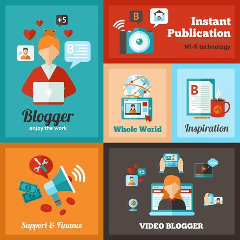 Ensemble d'affiche de blogueur vecteur