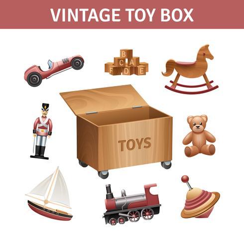 Coffret à jouets vintage vecteur