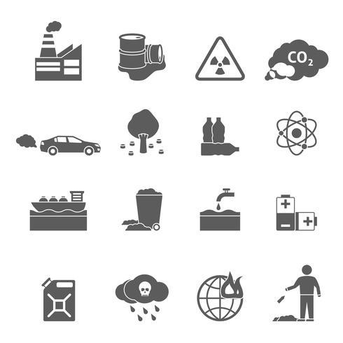 jeu d'icônes de problèmes d'écologie vecteur