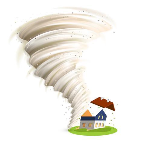 tornade endommage la maison vecteur