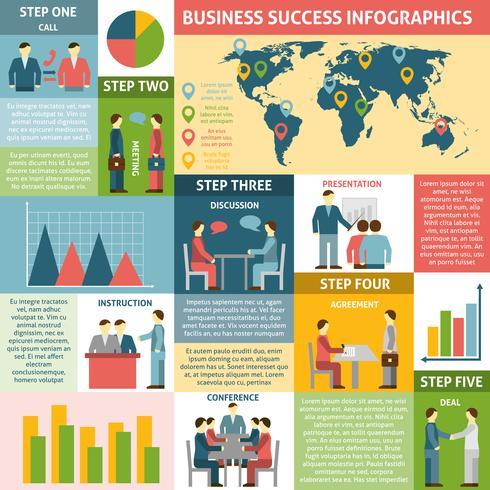 Infographie Cinq étapes pour réussir en affaires vecteur
