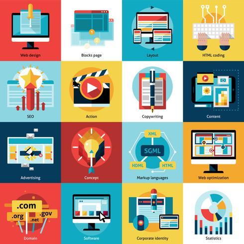 Processus créatif Concept Icons Set vecteur