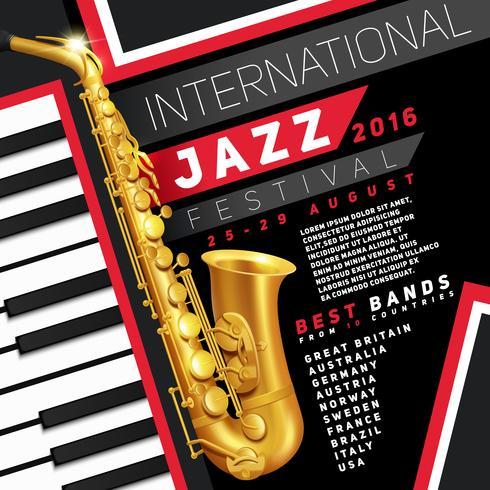Affiche du festival de jazz vecteur