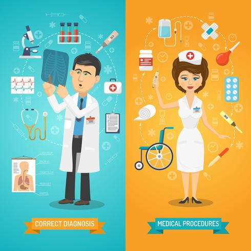 Docteur Et Infirmière Bannière vecteur