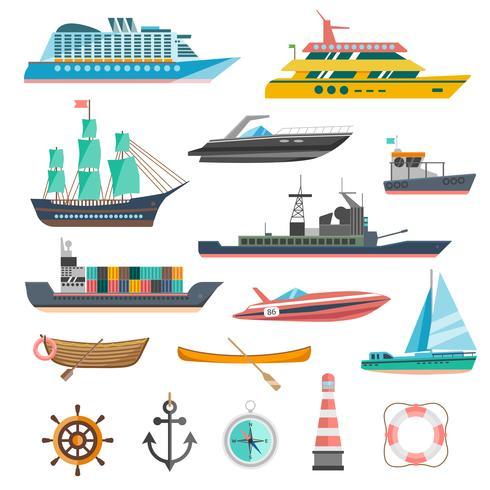 Navires Icons Set vecteur