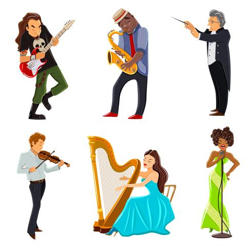Ensemble d'icônes plat musiciens vecteur