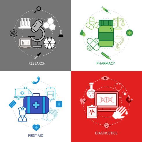 Medical Design Concept Icons Set vecteur