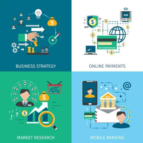 Ensemble d'icônes de marketing bancaire vecteur