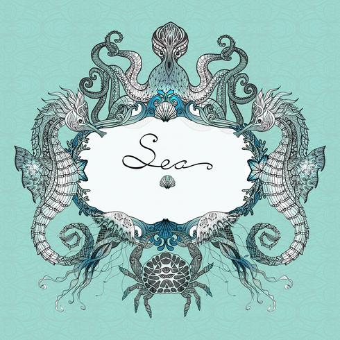 Illustration du Doodle Sea Life vecteur