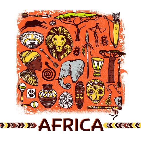 Illustration de croquis de l'Afrique vecteur