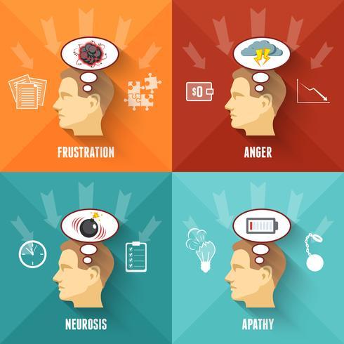 Place du concept 4 icônes de stress vecteur