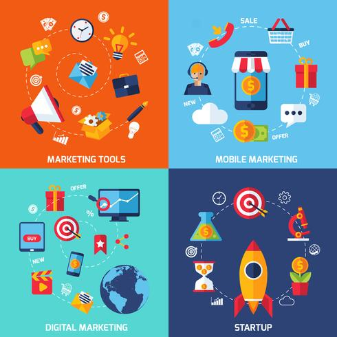 Set de marketing numérique vecteur