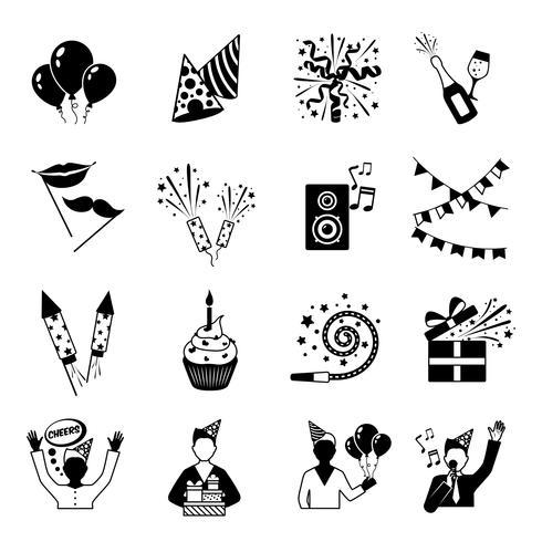 Icônes de fête noir et blanc vecteur