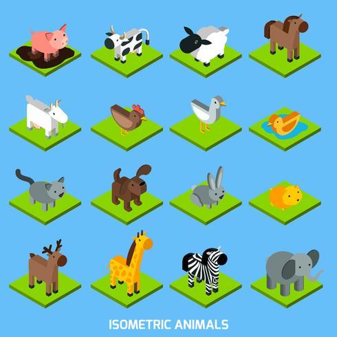 Ensemble d'animaux isométriques vecteur