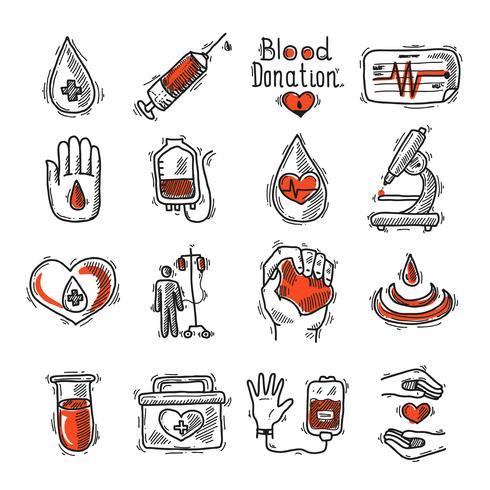 jeu d'icônes de donneur vecteur