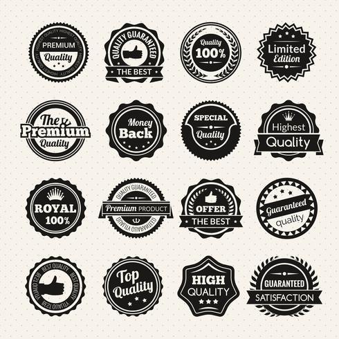 Insignes noir et blanc de qualité premium vintage vecteur