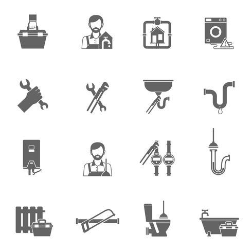 Icônes de plombier noir vecteur