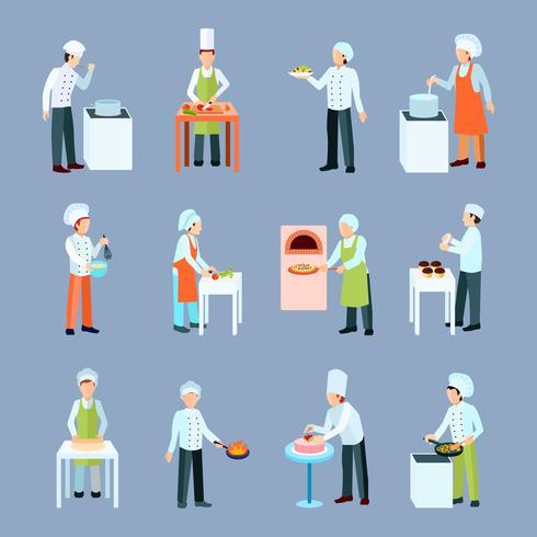 Cook Profession Icons Set vecteur