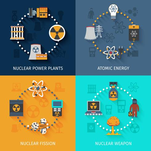 Composition de 4 icônes plates d'énergie nucléaire vecteur