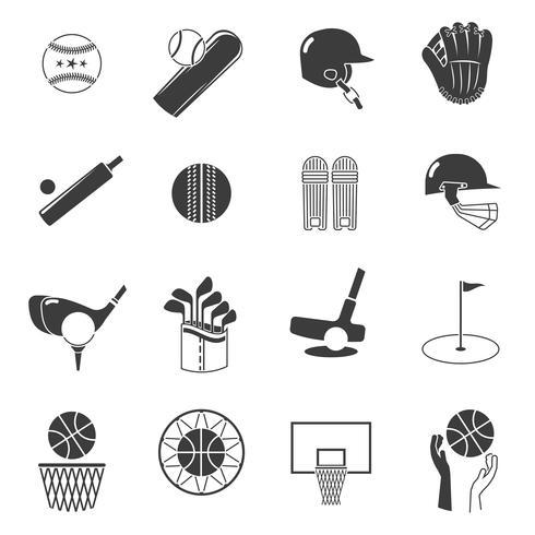 Ensemble d'icônes de sport noir vecteur