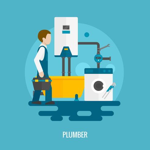 Icône de plombier plat vecteur