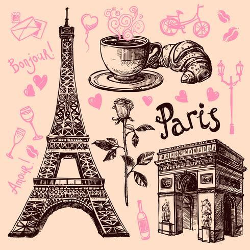 Jeu de symboles dessinés à la main de Paris vecteur